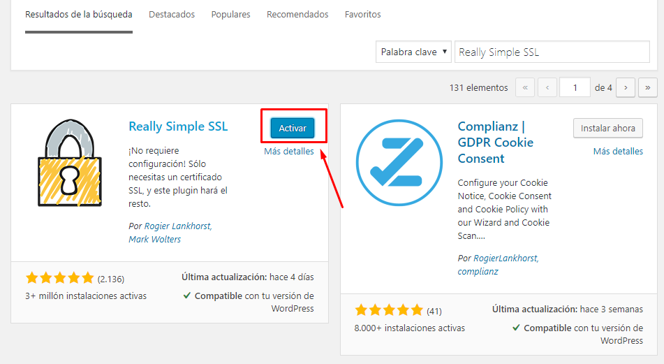 instalando plugin Really simple SSL