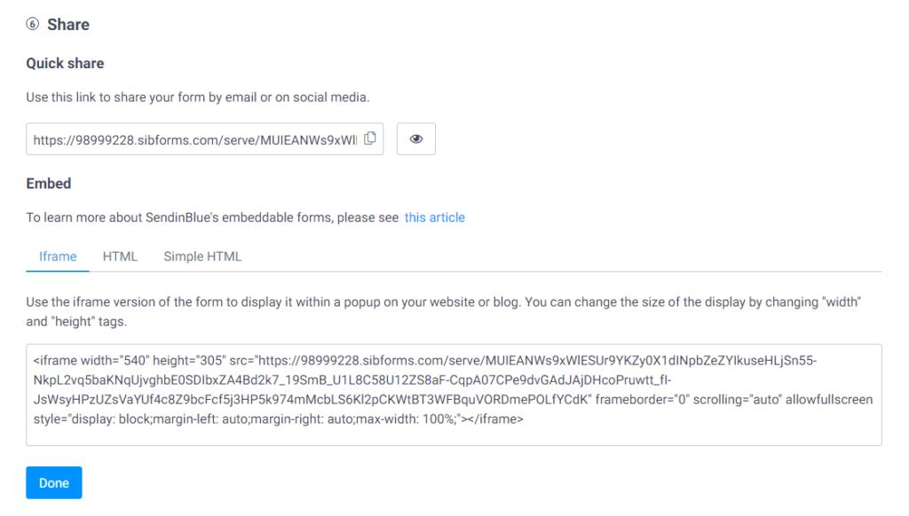 compartir formulario sendinblue