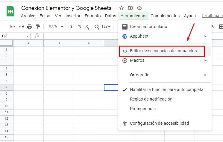 editor de secuencia de comandos google sheets